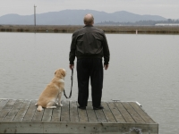 Mike and Roselle on the Dock of his waterfront home in Marin County California